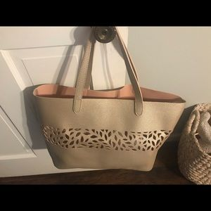 Handbags - Golden laser cut faux leather bag large